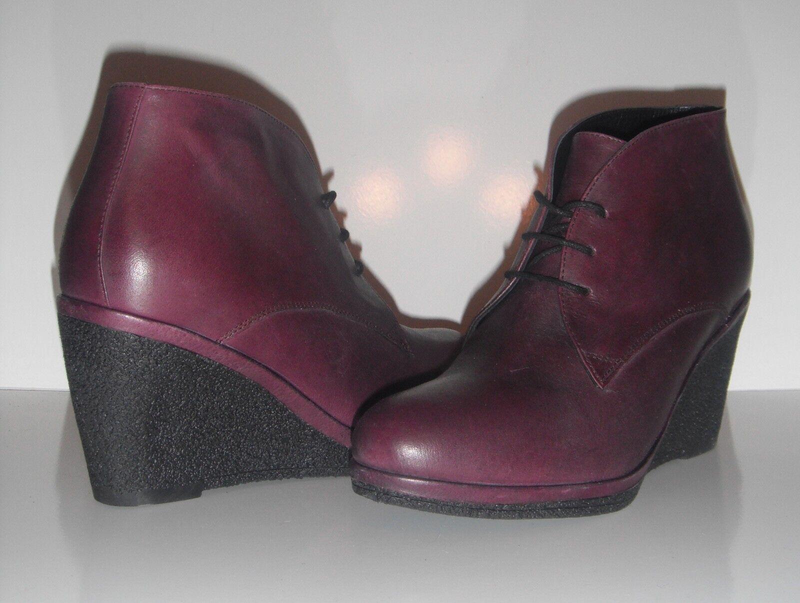 NEU Vanilla Moon Viola Bordo Leder Wedge Heel Ankle Stiefel sz 6.5 200+ Classy
