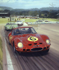 Litho-1962-Tourist-Trophy-Goodwood-Ferrari-Surtees-door-Graham-Turner