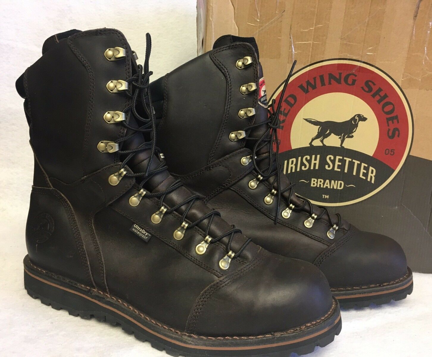 rojo Wing Men's Work botas Irish Setter 83812 marrón Lace Up Safety Steel Toe 14 D
