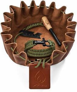SURVIVAL-KIT-Mulit-Tool-Fire-Starter-Wrench-Paracord-Bracelet-Leather-TINDER-BAG