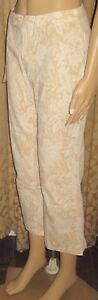 Old-Navy-Stretch-Size-4-Light-Gold-and-White-Floral-Cropped-Pants