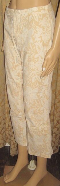 Old Navy Stretch Size 4 Light Gold and White Floral Cropped Pants