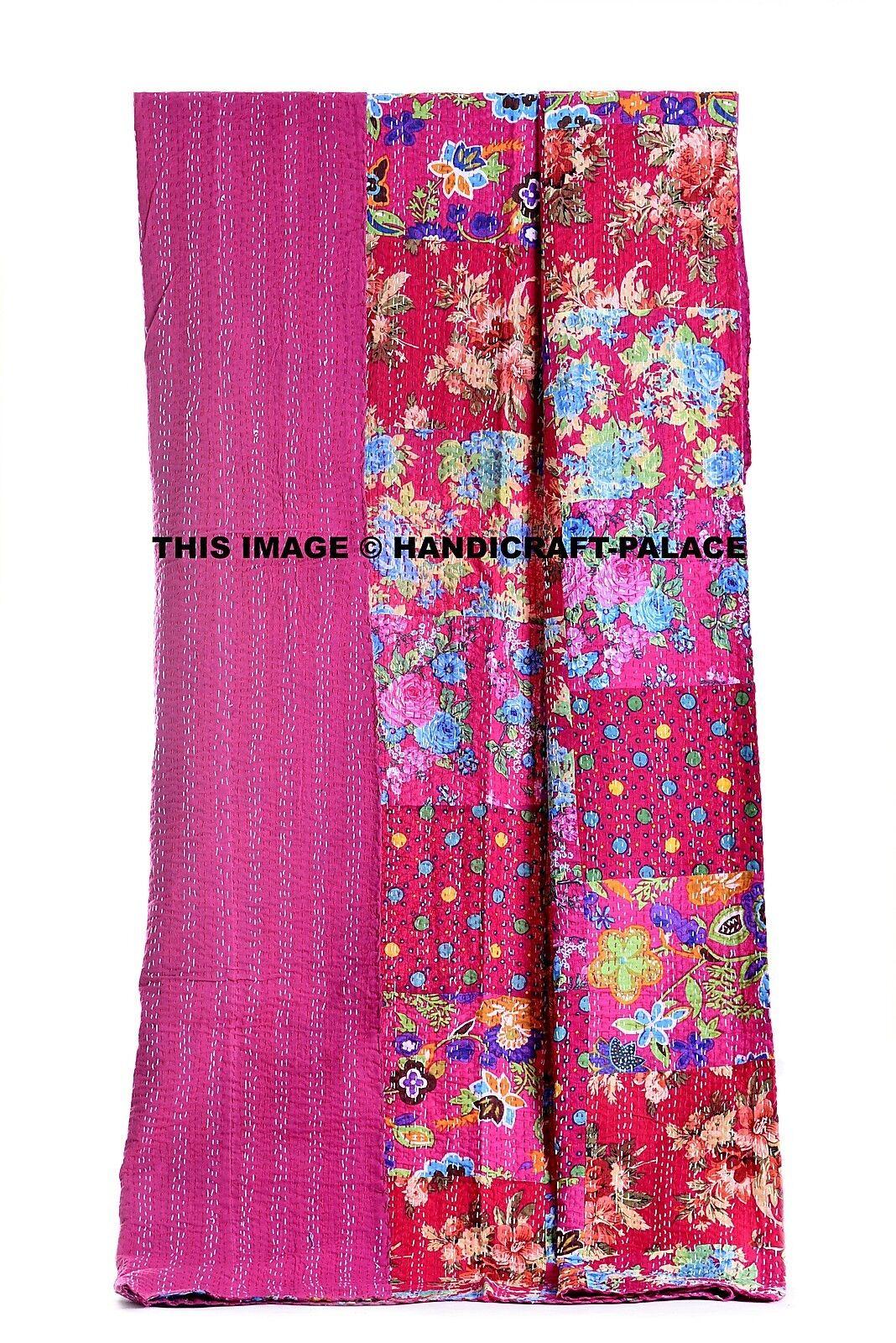 Indian Vintage Floral Print Patchwork Kantha Quilt Pink Bedspread Cotton Blanket