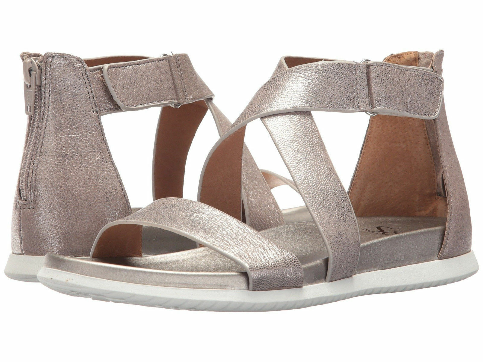 NIB Sofft Women's Fiora Leather Strappy Sandals Sandals Sandals in Anthracite Silver Sz 8.5 20c41a