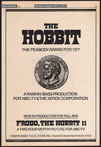 THE HOBBIT__Original 1978 Trade print AD / poster / Peabody Award promo TV movie
