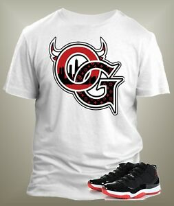 1cc49729d70f Jordan 11 Bred Low OG T Shirt to match Jordan Shoes on White Pro ...