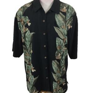 Jamaica-Jaxx-mens-Hawaiian-shirt-size-XL-silk-palm-leaves-floral-green-black