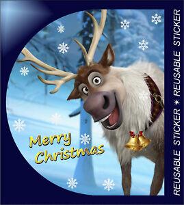 2-X-Buon-Natale-Cervo-Riutilizzabile-Adesivi-Decalcomanie-Regalo-Casa-Finestra-Decorazioni