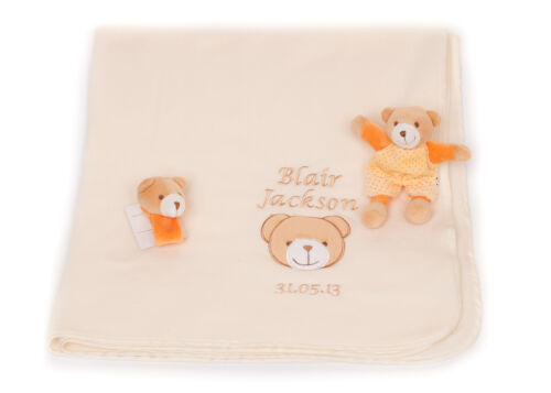 Personalised Name Embroidered 3 Piece Baby Blanket /& toy Newborn Gift Set