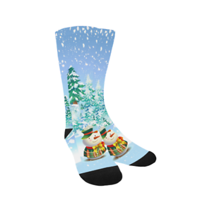 Custom-Socks-Christmas-Tree-and-Snowman-Knee-High-Socks-for-Unisex