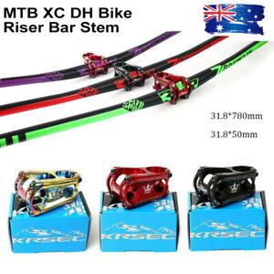 Aluminum-Bike-Handlebar-Stem-Sets-31-8-780mm-MTB-Longth-Bar-50mm-XC-Short-Stem