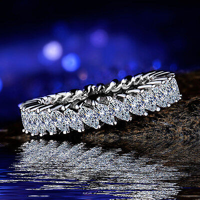 Fashion learf 925 silver filled Rings For Women White Sapphire Ring Taille 6-10