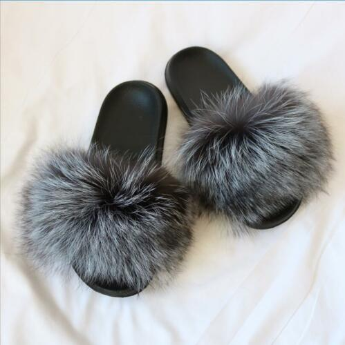 UK Women Real Fur Flat Shoes Fluffy Flip Flop Slippers Sliders Sandals Xmas Gift