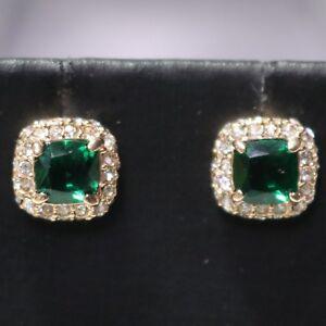 Vintage-Antique-Green-Emerald-Stud-Earrings-Women-Jewelry-14K-Rose-Gold-Plated
