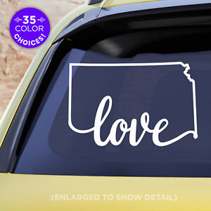 Kansas-State-034-Love-034-Decal-KS-Love-Car-Vinyl-Sticker-add-heart-over-any-city