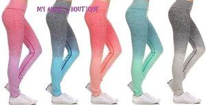Women Ombre full length Yoga Pants Gym Fitness Leggings Workout ...