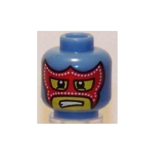 Head Minifig Med Blue LEGO Red Mask w// Eye /& Mouth Holes Wrestler Mask