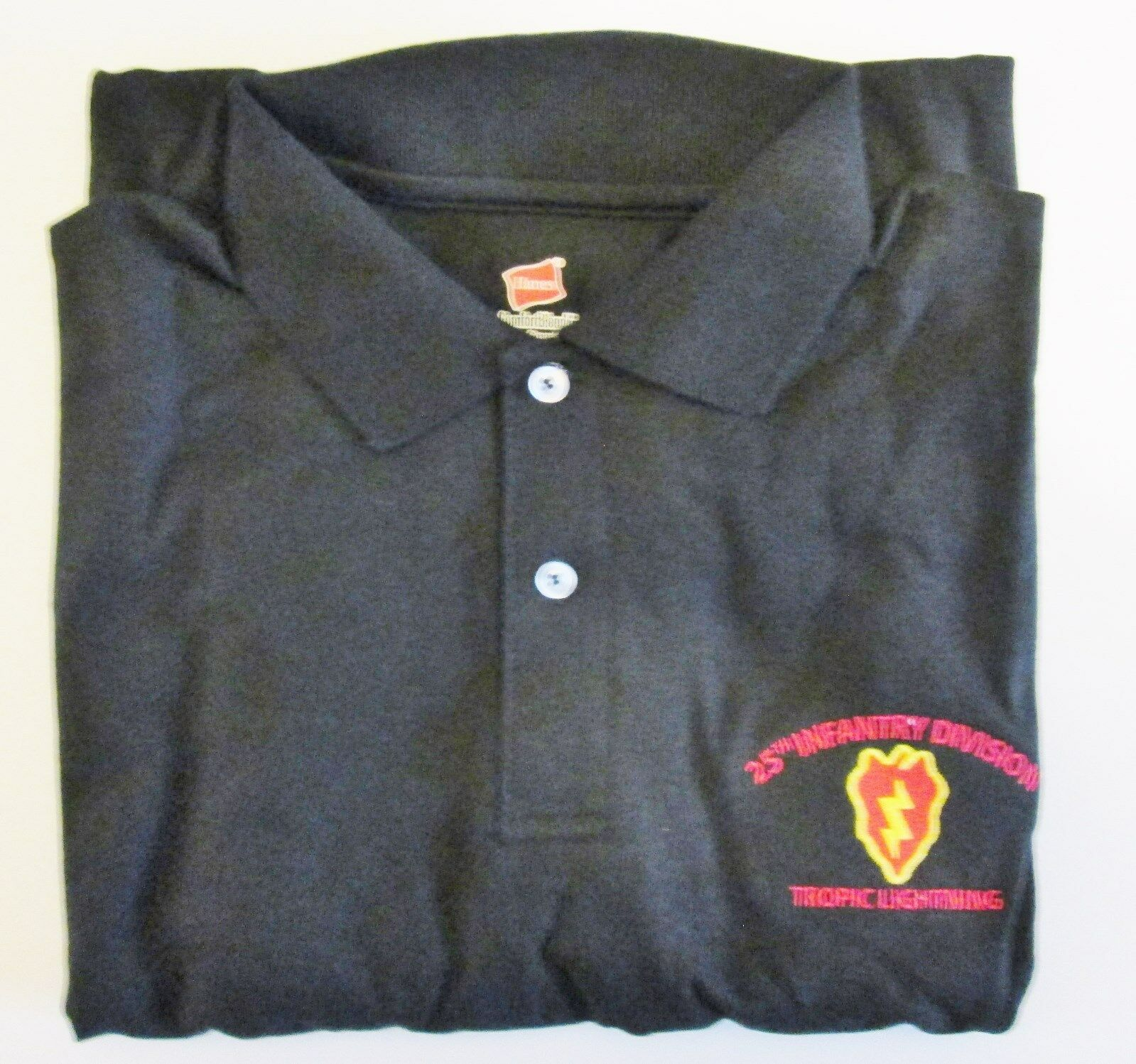 25TH INFANTRY DIVISION   TROPIC LIGHTNING   EMBROIDERED LIGHTWEIGHT POLO SHIRT