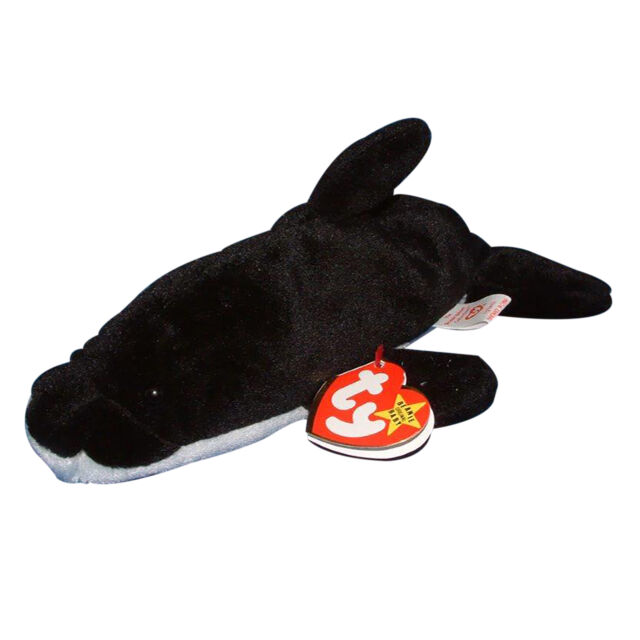 b9299f85479 Ty Beanie Baby 1993 Original 9 Splash The Whale 1st Generation RARE ...