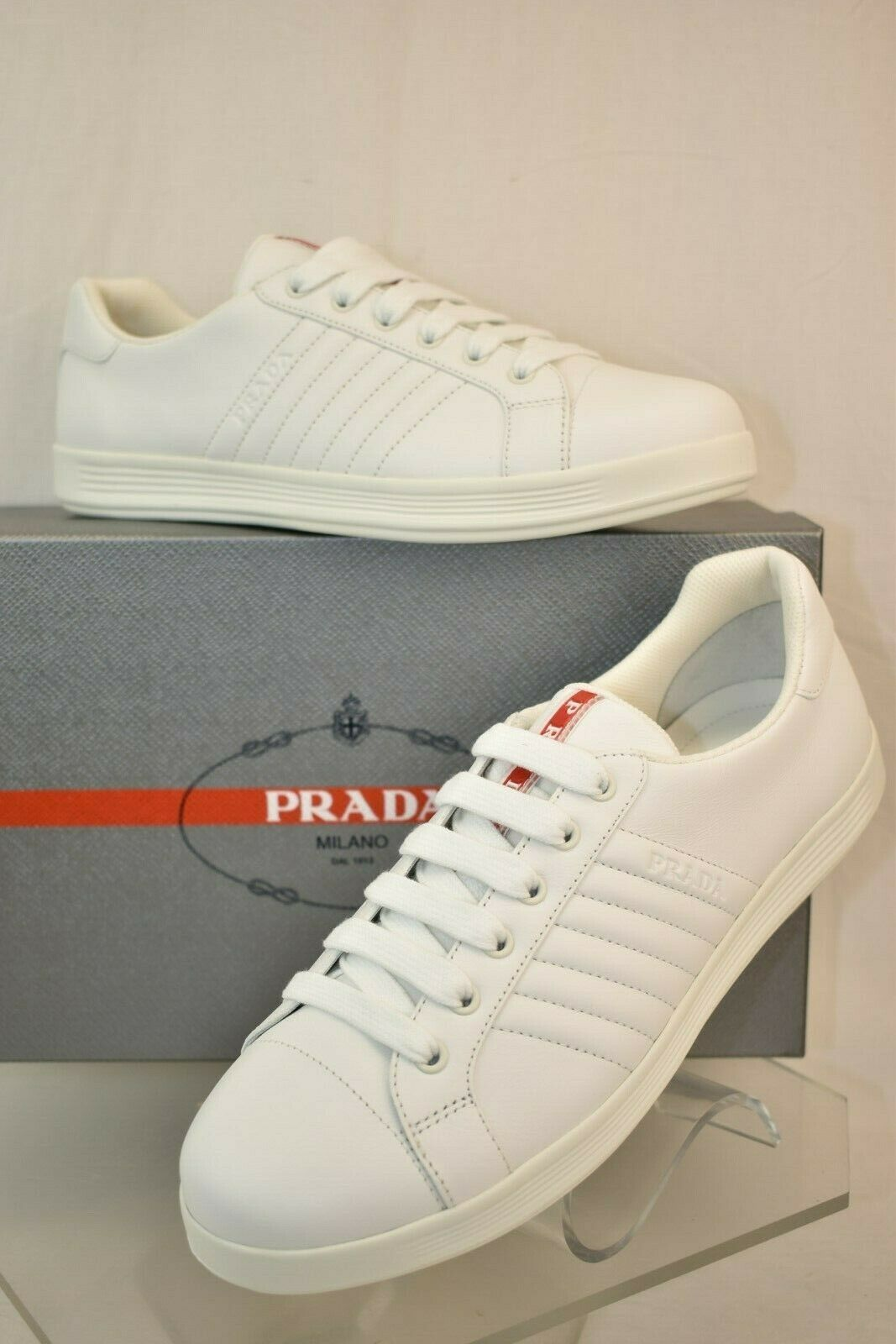NIB PRADA MEN'S WHITE QUILTED LEATHER LACE UP LOGO LOW TOP SNEAKERS 9 US 10