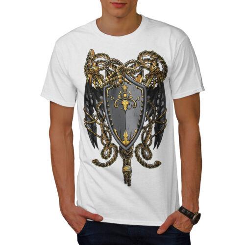 Crest design grafico stampato T-shirt Wellcoda SCUDO FERRO ARTE FANTASY Da Uomo T-shirt