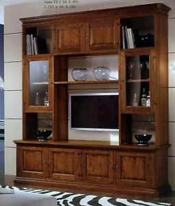 Parete mobile soggiorno libreria vetrina in legno massello madia porta tv 164 ebay - Mobile porta tv a scomparsa ...