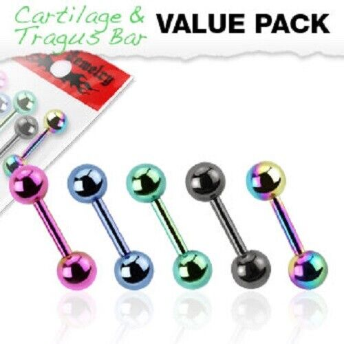5 Pack of Titanium Plated Tragus Bars Barbell Piercings Assorted Colours