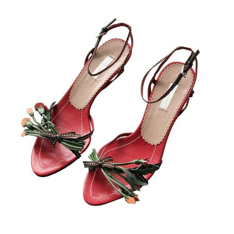 Women's Ankle Strap Leather Leather Leather Kitten Heels Floral Pumps Fashion Sandals shoes New e358f2