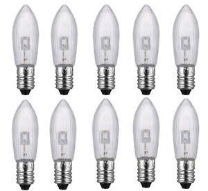 20x E10 LED Ersatzbirnen Top Kerze für Lichterketten Lampe 0,2 W//10-55V warmweiß