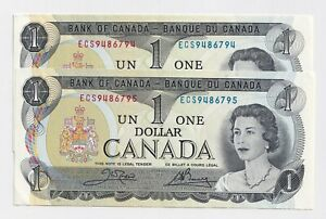 2-x-Sequential-1973-1-Bank-of-Canada-Notes-ECS9486794-5-UNC