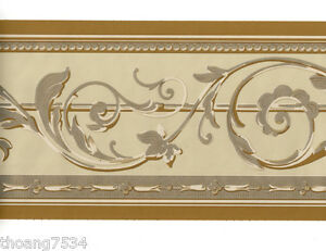 Traditional-Metallic-GOLD-Tan-Cream-Acanthus-Leaf-Scroll-Wall-paper-Border