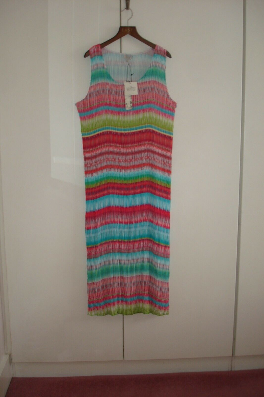 EAST TROPICAL PASTEL COLOURS SLEEVELESS PLEATS SUMMER MAXI DRESS DRESS DRESS SIZE UK LARGE 6c86be