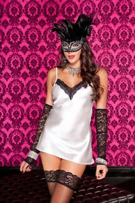 Music Legs Side Cut Outs cami with Attached Sleeves and Stockings Black