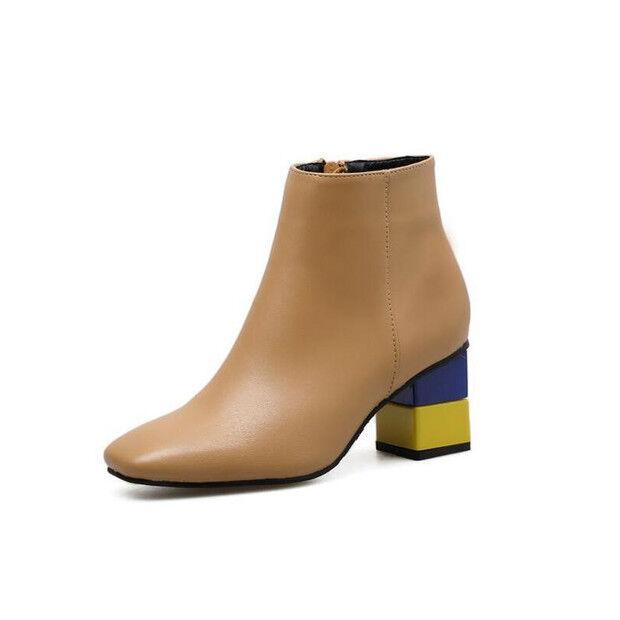 botas stivaletti bassi zapatos alto 7 beige Colorati pelle sintetica 9448