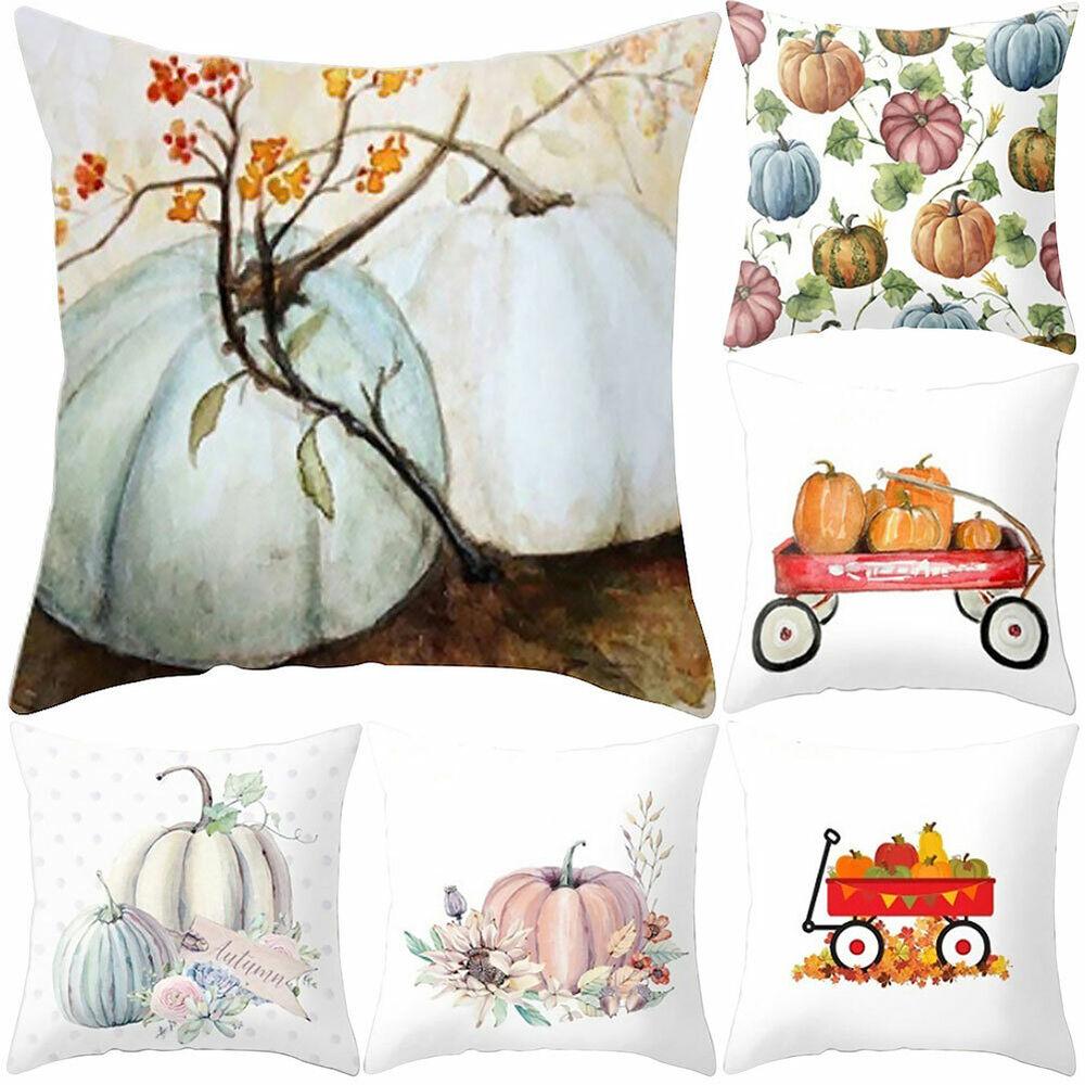 HK- Pillow Case Watercolor Pumpkin Sofa Waist Throw Cushion Cover Home Decoratio Home & Garden