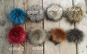 13ddf6956 Details about Faux Fur Pom Pom Bobble with Press Stud Handmade Pompom for  Hat Mink Raccoon Cap