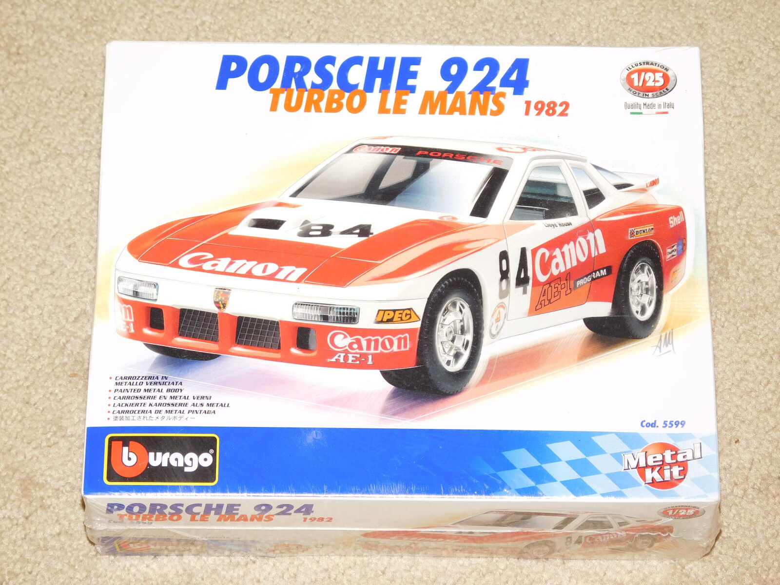 BBURAGO 1 25 SCALE 1982 PORSCHE 924 TURBO LE MANS METAL MODEL (New In Box)