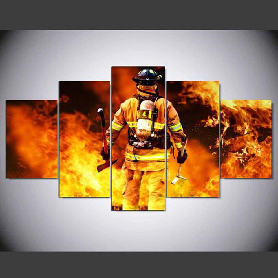 Fire Fighter Job Passion in Work 5 pieces Canvas Wall Poster Picture Home Decor