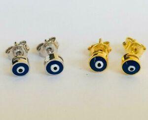 925-Sterling-Silver-Gold-Small-Evil-Eye-Stud-Earrings-Dark-Blue-Enamel-Mini-4mm
