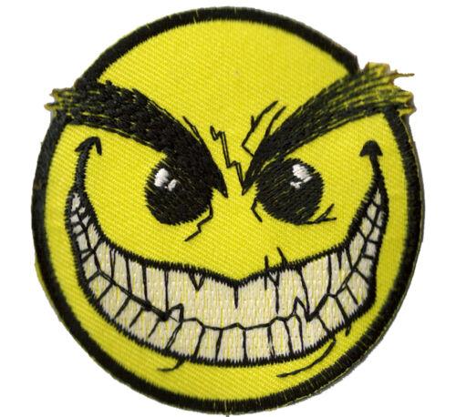 Ecusson patche thermocollant Smiley Furieux patch DIY brodé