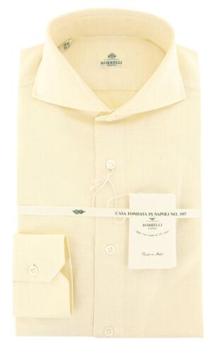 $450 Luigi Borrelli Yellow Solid Shirt - Extra Slim - 15.5/39 - (460520lb-ev06)