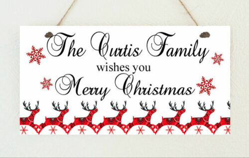 Personalised Family Scandi Reindeer Christmas Sign Plaque Gift Present Xmas