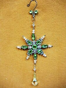 Lime-Green-Jeweled-SNOW-FLAKE-Christmas-Ornament-Decoration-Ovid-Facet-Gems-10