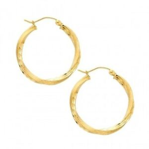 Details About 14kt Solid Yellow Italian Gold Twisted Satin Finish Small Hoop Earrings