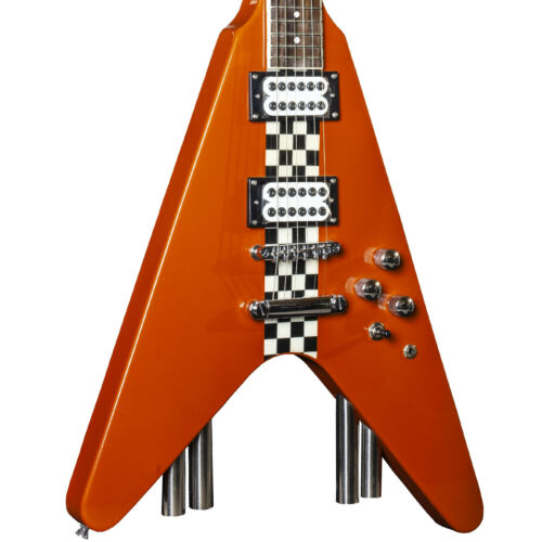 RRP £249 Buy Now £79 Stagg Flying V Electric Guitar G-Force Metallic Orange