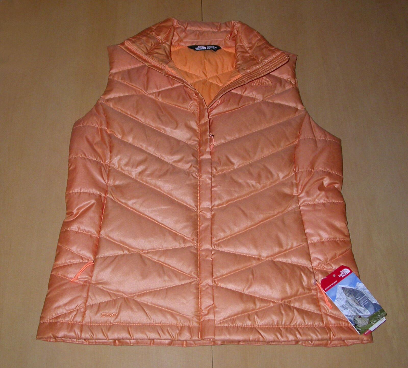 NWT The North Face Aconcagua Down Vest Impact orange Womens Sz M