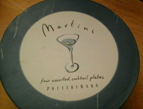 Pottery Barn Martini Cocktail Plates, Set Of 4
