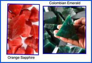 Polished Rough Lot 2000 Ct Colombian Emerald & Orange Sapphire Natural Gemstone