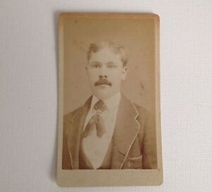 CDV-Photo-Rome-NY-Antique-Hovey-Brainerd-Photograph-Young-Man-with-Mustache