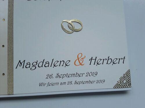 DinA4 Goldene Hochzeit Hardcover-Gästebuch//Fotoalbum creme//perlmutt//gold